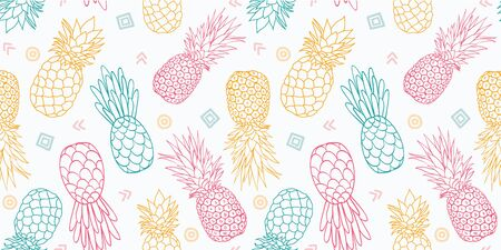 Colorful pineapples vector seamless pattern. Great as a textile print, party invitation or packaging. Surface pattern design.