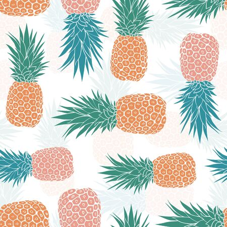 Geometric tribal pineapples seamless pattern. Summer colorful tropical textile print. Surface pattern design.