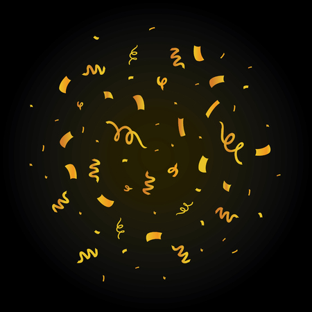 Golden confetti on black burst set. Great for a birthday party or an event celebration invitation decor.