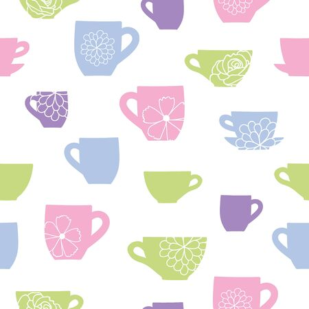 Cups and flowers teatime seamless pattern. Great for tea party invitations, fabric, and cafe or restaurant designs. Vector surface pattern design.