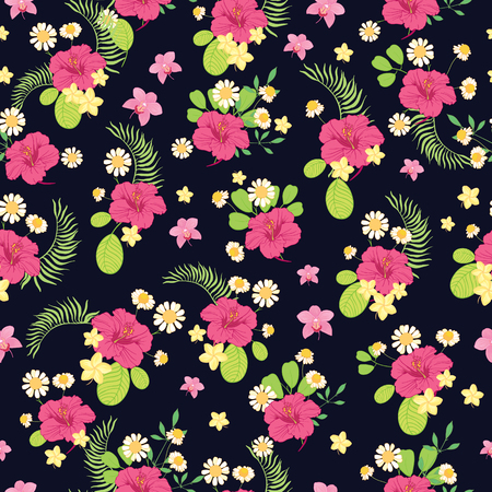 Tropical flowers ditsy seamless pattern design. Great for summer fabric, wallpaper, party invitations, scrapbooking design projects. Surface pattern design.