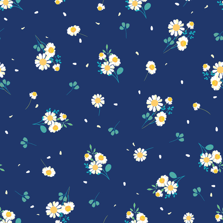 Sweet daisies ditsy vector seamless pattern design. Great for summer vintage fabric, scrapbooking, wallpaper, giftwrap. Suraface pattern design. Stock Photo