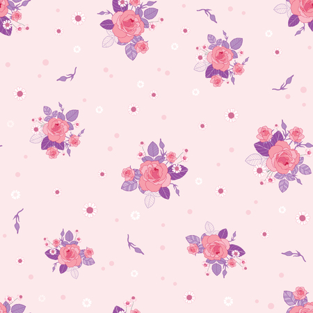 Pink purple roses ditsy vintage seamless pattern. Great for retro summer fabric, scrapbooking, giftwrap, and wallpaper design projects. Surface pattern design. Stock Photo