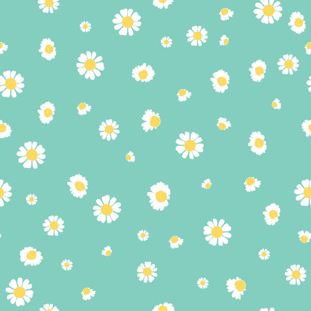 Green daisies ditsy vector seamless pattern design. Great for summer vintage fabric, scrapbooking, wallpaper, giftwrap. Suraface pattern design.