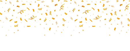 Golden confetti border seamless repeat pattern. Great for a birthday party or an event celebration invitation decor. Surface pattern design.