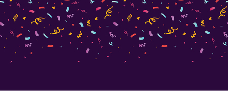 Fun confetti purple horizontal seamless border. Great for a birthday party or an event celebration invitation or decor. Surface pattern design. Stock Photo
