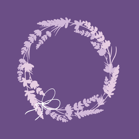 Purple lavender flowers wreath decor arrangement design element. Elegant purple silhouette lavender flower arrangement. Great for a spring floral frame, wedding invitation, packaging. Stock Photo