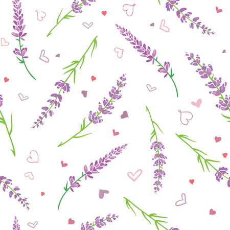 Lavender flowers and hearts seamless pattern. Beautiful violet lavender flowers retro background and borders. Elegant fabric on light background. Surface pattern design.