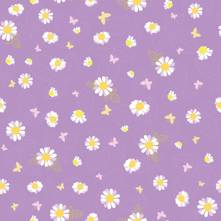 Purple white daisies ditsy seamless pattern. Great for summer vintage fabric, scrapbooking, wallpaper, giftwrap. Suraface pattern design. Stock Photo