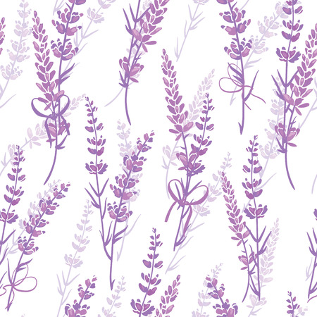 Lavender bouquets purple vector seamless pattern. Beautiful violet lavender retro background. Elegant fabric on light background Surface pattern design. Stock Photo