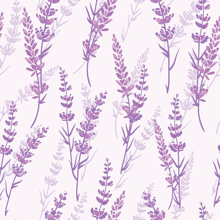 Lavender floral purple vector seamless pattern. Beautiful violet lavender retro background. Elegant fabric on light background Surface pattern design. Stock Photo