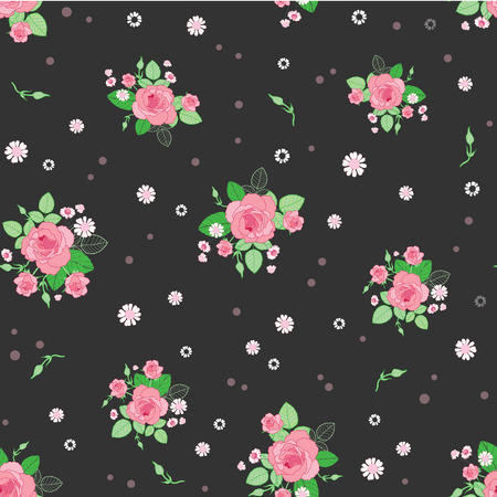 Pink brown roses ditsy vintage seamless pattern. Great for retro summer fabric, scrapbooking, giftwrap, and wallpaper design projects. Surface pattern design. Stock Photo