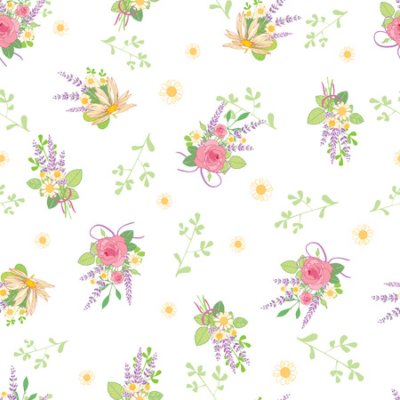 Pink roses bouquets ditsy vintage seamless pattern. Great for retro summer fabric, scrapbooking, giftwrap, and wallpaper design projects. Surface pattern design.