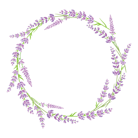 Purple green lavender flowers wreath arrangement design element. Elegant purple silhouette lavender flower arrangement. Great for a spring floral frame, wedding invitation, packaging.