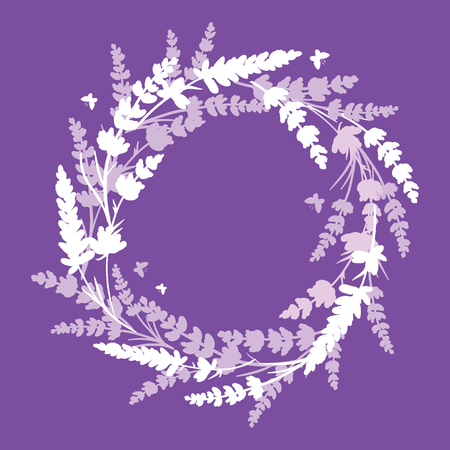 Lavender flowers wreath frame bouquet design element. Elegant purple silhouette lavender flower arrangement. Great for a spring floral frame, wedding invitation, packaging.