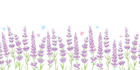 Lavender flowers frame border seamless pattern. Beautiful violet lavender flowers retro background and borders. Elegant fabric on light background. Surface pattern design. Stock Photo