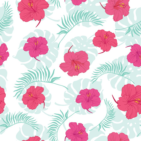 Tropical hibiscus flowers seamless repeat pattern. Great for summer exotic wallpaper, backgrounds, packaging, fabric, and giftwrap projects. Surface pattern design.