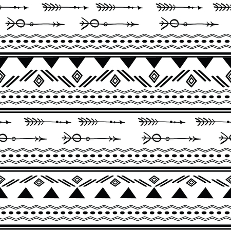 Arrows tribal black and white seamless pattern. Great for folk modern wallpaper, backgrounds, invitations, packaging design projects. Surface pattern design.