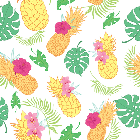Tropical pineapples seamless repeat pattern. Great for summer exotic wallpaper, backgrounds, packaging, fabric, and giftwrap projects. Surface pattern design.