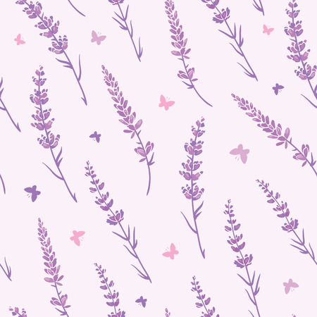 Lavender field repeat pattern background. Beautiful violet lavender retro background. Elegant fabric on light background. Surface pattern design. Stock Photo