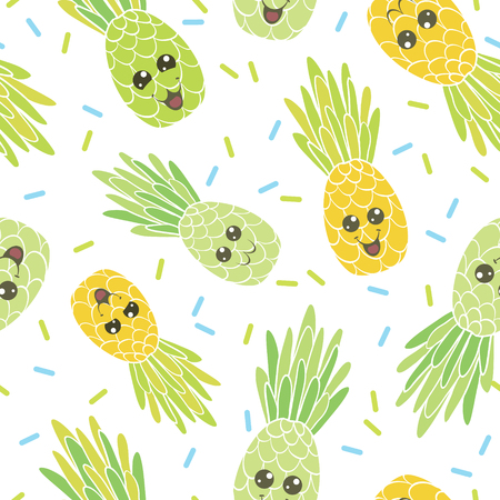 Cute pineapple faces seamless repeat pattern. Great for tropical summer theme wallpaper, backgrounds, packaging, fabric, scrapbooking, and giftwrap projects. Surface pattern design. Illustration