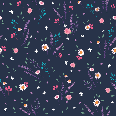 Pink grey roses and daisies ditsy seamless pattern. Great for retro summer fabric, scrapbooking, giftwrap, and wallpaper design projects. Surface pattern design.
