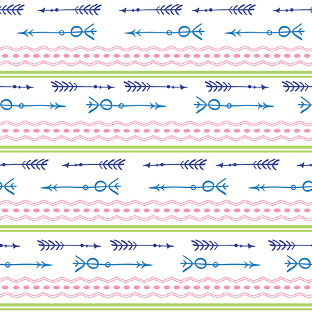 Arrows tribal colorful seamless pattern. Great for folk modern wallpaper, backgrounds, invitations, packaging design projects. Surface pattern design. Illustration
