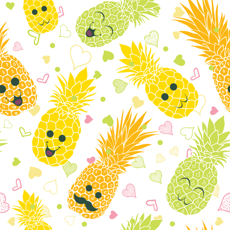 Happy pineapple faces seamless repeat pattern. Great for tropical summer theme wallpaper, backgrounds, packaging, fabric, scrapbooking, and giftwrap projects. Surface pattern design.