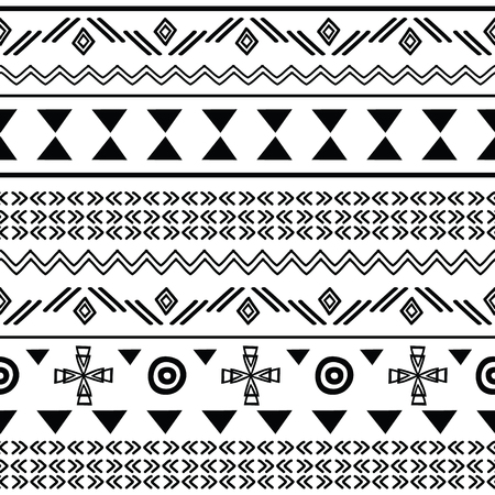 Tribal black on white seamless repeat pattern. Great for folk modern wallpaper, backgrounds, invitations, packaging design projects. Surface pattern design. Illustration