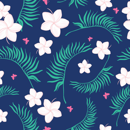 Tropical navy and pink flowers seamless pattern. Great for summer exotic wallpaper, backgrounds, packaging, fabric, and giftwrap projects. Surface pattern design. Illustration