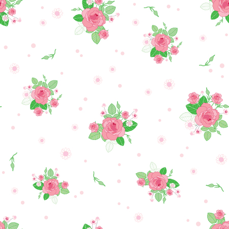 Pink green roses ditsy vintage seamless pattern. Great for retro summer fabric, scrapbooking, giftwrap, and wallpaper design projects. Surface pattern design.