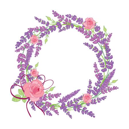 Rose and lavender flowers wreath decor arrangement design element. Elegant purple silhouette lavender flower arrangement. Great for a spring floral frame, wedding invitation, packaging.
