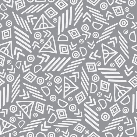 Vector tribal abstract seamless repeat pattern. Great for folk modern wallpaper, backgrounds, invitations, packaging design projects. Surface pattern design.