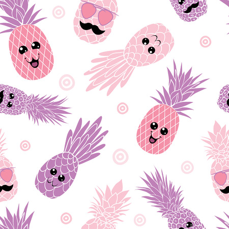 Pink pineapple family seamless repeat pattern. Great for tropical summer theme wallpaper, backgrounds, packaging, fabric, scrapbooking, and giftwrap projects. Surface pattern design.