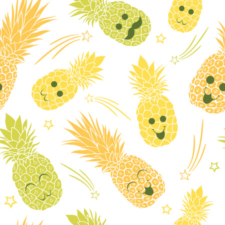 Cute pineapple family seamless repeat pattern. Great for tropical summer theme wallpaper, backgrounds, packaging, fabric, scrapbooking, and giftwrap projects. Surface pattern design.