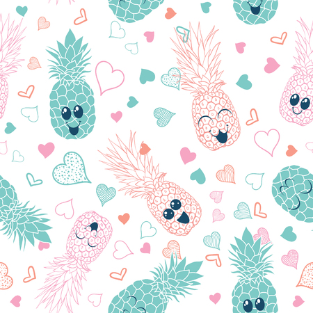 Pink and blue pineapple faces seamless pattern. Great for tropical summer theme wallpaper, backgrounds, packaging, fabric, scrapbooking, and giftwrap projects. Surface pattern design.