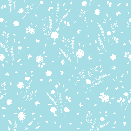 Light blue roses and daisies ditsy seamless pattern. Great for retro summer fabric, scrapbooking, giftwrap, and wallpaper design projects. Surface pattern design.