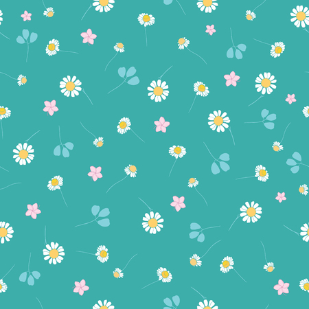 Green daisies ditsy seamless pattern. Great for summer vintage fabric, scrapbooking, wallpaper, giftwrap. Suraface pattern design.
