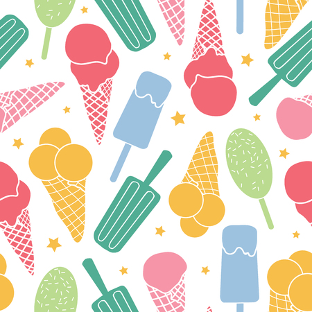 Cute ice cream and stars seamless pattern. Great for yummy summer dessert wallpaper, backgrounds, packaging, fabric, scrapbooking, and giftwrap projects. Surface pattern design. Illustration