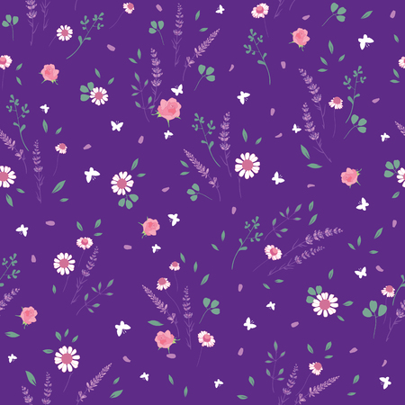 Purple roses daisies ditsy seamless pattern. Great for retro summer fabric, scrapbooking, giftwrap, and wallpaper design projects. Surface pattern design.