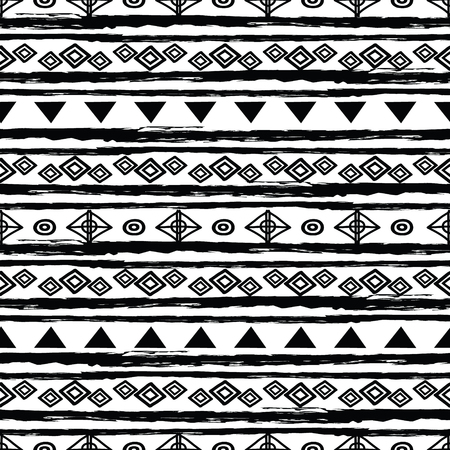 Black and white tribal seamless repeat pattern. Great for folk modern wallpaper, backgrounds, invitations, packaging design projects. Surface pattern design.