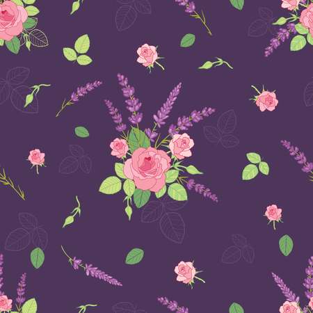Pink purple roses ditsy seamless pattern. Great for retro summer fabric, scrapbooking, giftwrap, and wallpaper design projects. Surface pattern design. Stock Photo