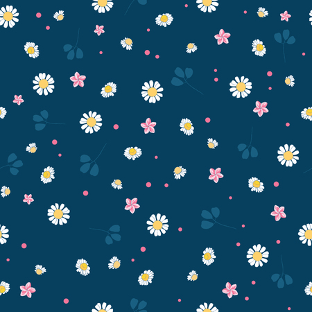 Lovely daisies ditsy vector seamless pattern design. Great for summer vintage fabric, scrapbooking, wallpaper, giftwrap. Suraface pattern design. Stock Photo