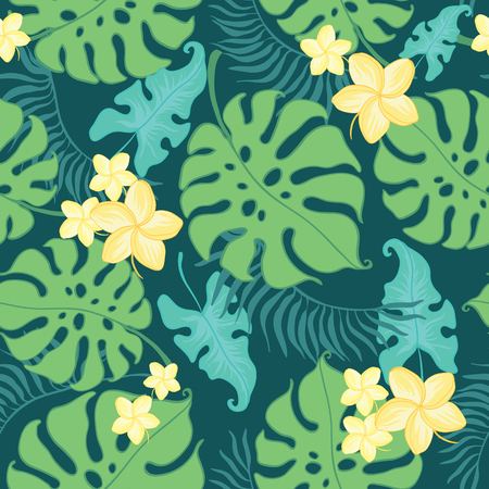 Tropical yellow flowers seamless repeat pattern. Great for summer exotic wallpaper, backgrounds, packaging, fabric, and giftwrap projects. Surface pattern design.