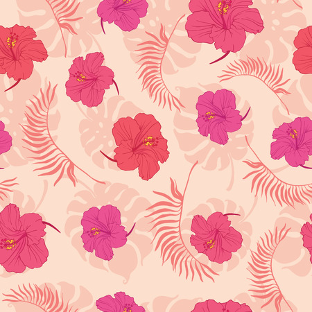 Tropical pink hibiscus flowers seamless pattern. Great for summer exotic wallpaper, backgrounds, packaging, fabric, and giftwrap projects. Surface pattern design.