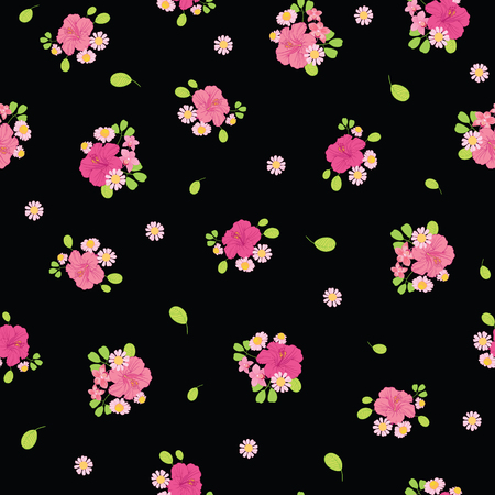 Ditsy tropical flowers seamless pattern design. Great for summer fabric, wallpaper, party invitations, scrapbooking design projects. Surface pattern design. Stock Photo