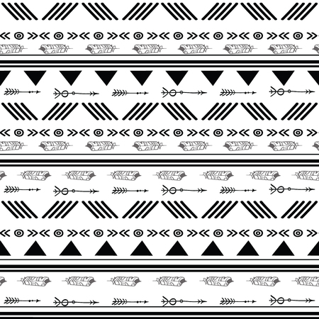 Black and white ikat tribal seamless pattern. Great for folk modern wallpaper, backgrounds, invitations, packaging design projects. Surface pattern design. Stock Photo