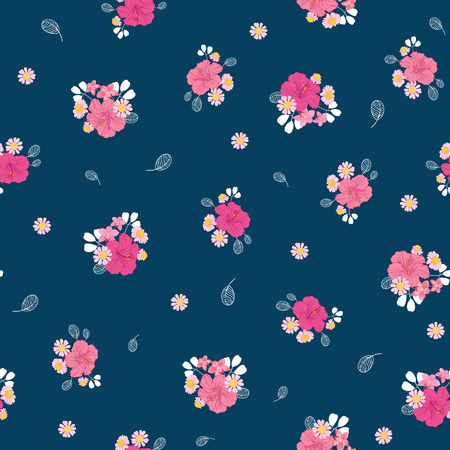 Ditsy pink tropical flowers seamless pattern design. Great for summer fabric, wallpaper, party invitations, scrapbooking design projects. Surface pattern design.