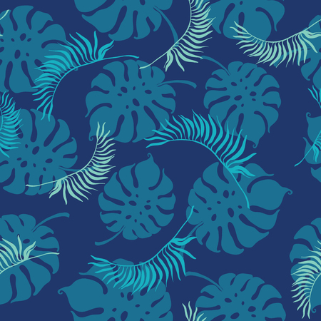 Tropical blue leaves seamless repeat pattern. Great for summer exotic wallpaper, backgrounds, packaging, fabric, and giftwrap projects. Surface pattern design.