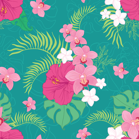 Tropical orchid and hibiscus flowers seamless repeat pattern. Great for summer exotic wallpaper, backgrounds, packaging, fabric, and giftwrap projects. Surface pattern design.
